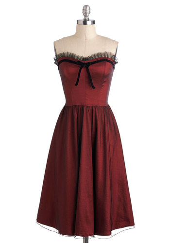 Almandite If I Might Dress - Red, Black, Bows, Ruffles, Trim, Special Occasion, A-line, Strapless, Sweetheart, Vintage Inspired, Cocktail, Long, 60s