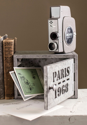 Bienvenue Home Cabinet - Grey, Dorm Decor, Vintage Inspired, Rustic