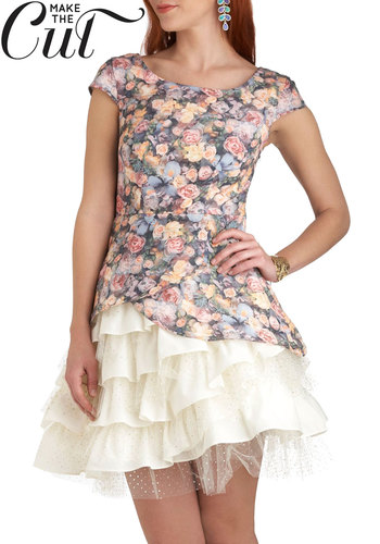 Strolling Garden Gathering Dress - Multi, Floral, Ruffles, Tiered, Party, A-line, Cap Sleeves, Exclusives, Mid-length