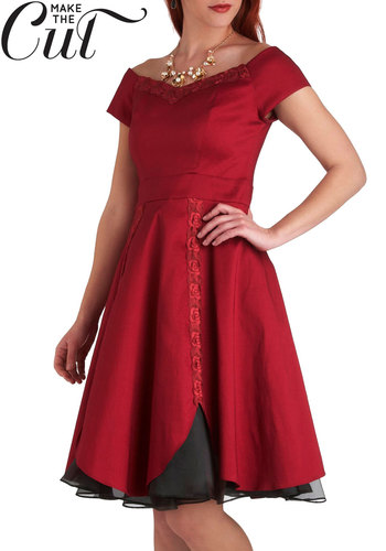 Conservatory Soiree Dress - Red, Black, Solid, Embroidery, Formal, Holiday Party, Off the Shoulder, Winter, Exclusives, Mid-length, Prom