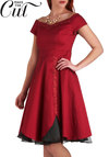 Conservatory Soiree Dress - Red, Black, Solid, Embroidery, Special Occasion, Holiday Party, Off the Shoulder, Winter, Exclusives, Mid-length, Prom
