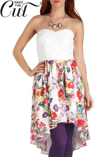 Botanical Ballroom Dress - Multi, Floral, Party, High-Low Hem, Strapless, Spring, Exclusives, Short, Graduation