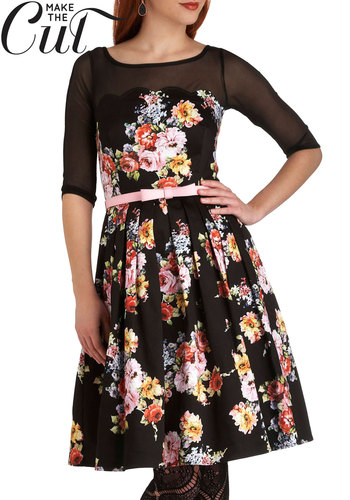 Atrium Introductions Dress - Multi, Floral, Bows, Scallops, Belted, Formal, Party, A-line, 3/4 Sleeve, Exclusives, Cotton, Sheer, Long