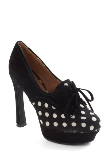 You Dot Sole Heel - High, Leather, Black, White, Polka Dots, Rockabilly, Platform, Lace Up, Pinup