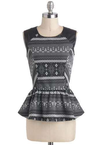 Winter Intern Top - Mid-length, Grey, Black, Argyle, Work, Peplum, Sleeveless, Party