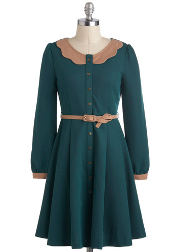 Toasted Apple and Sage Dress by Pink Martini - Mid-length, Green, Tan / Cream, Buttons, Belted, Work, A-line, Long Sleeve, Scallops