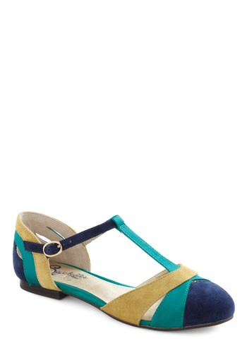 Freesia Flat in Blue by Seychelles - Flat, Leather, Blue, Yellow, Casual, Variation