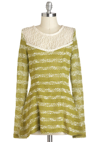 Sage the Day Top by Nick & Mo - Green, Tan / Cream, Stripes, Lace, Long Sleeve, Mid-length, Sheer