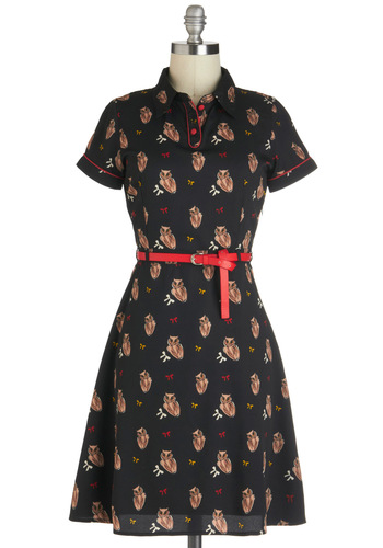 Owl in Good Time Dress by Yumi - Black, Red, Print with Animals, Casual, Shirt Dress, Short Sleeves, Belted, Mid-length, Owls, Collared, Tan / Cream, Work