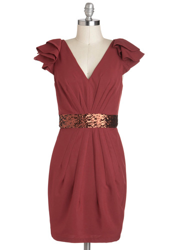 Whatever You Fancy Dress in Brick - Red, Sequins, Sheath / Shift, Cap Sleeves, Mid-length, Cocktail, V Neck, Bronze, Pleats, Holiday Party, Tis the Season Sale