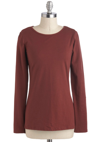 So Andorra-ble Top - Brown, Solid, Casual, Long Sleeve, Jersey, Cotton, Mid-length