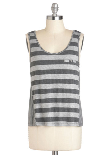 All Types of Stripes Top - Jersey, Grey, Stripes, Buttons, Casual, Sleeveless, Scoop, Mid-length, Summer, Travel