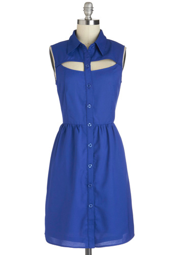 A Peek of Blue Dress - Mid-length, Blue, Solid, Buttons, Cutout, Casual, A-line, Shirt Dress, Sleeveless, Collared, Tis the Season Sale, Summer