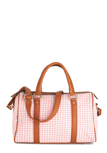 Marzipan Rover Bag - Houndstooth, White, Faux Leather, Pink, Brown, Tis the Season Sale