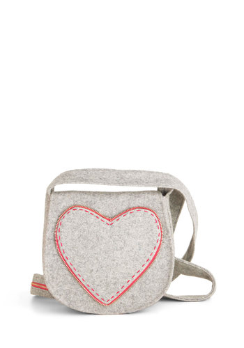 Felt So Right Bag - Grey, Pink, Solid, Exposed zipper, Casual, Vintage Inspired, Handmade & DIY