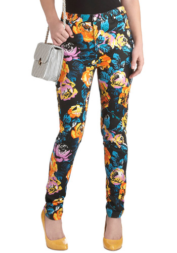 How Pop Art Thou? Pants by Mink Pink - Black, Floral, Casual, Vintage Inspired, 90s, Skinny, Multi