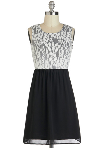 Nuanced Opportunity Dress - White, A-line, Sleeveless, Short, Black, Exposed zipper, Party, Twofer, Lace, Holiday Party