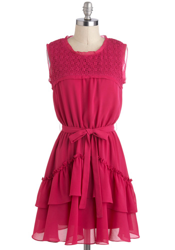 Raspberry Flummery Dress - Pink, Solid, Crochet, Ruffles, Belted, Sleeveless, Chiffon, Mid-length, A-line, Casual, Daytime Party, Vintage Inspired, Crew