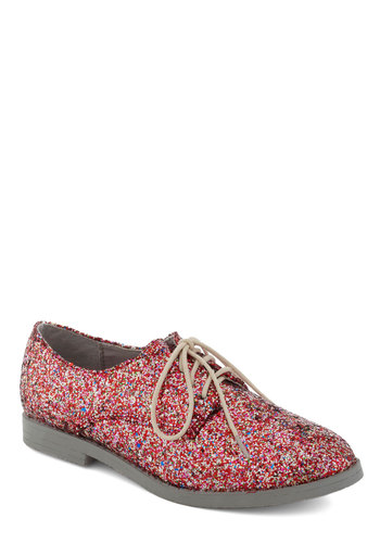 Glitter-ature Tour Flat - Pink, Multi, Glitter, Holiday Party, Menswear Inspired, Lace Up, Flat