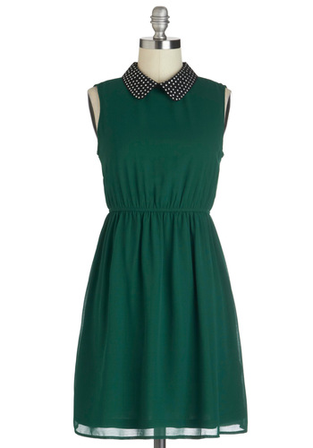 Grass is Evergreen-er Dress - Green, Studs, Casual, A-line, Sleeveless, Collared, Mid-length, Chiffon, Urban