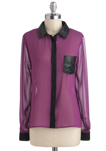 Trim and True Top - Purple, Black, Buttons, Pockets, Work, Long Sleeve, Collared, Sheer, Mid-length, Casual, Girls Night Out, Urban