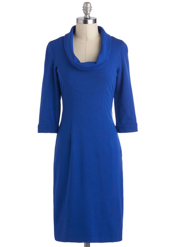 Taking on the Town Dress - Solid, Casual, Shift, 3/4 Sleeve, Cowl, Mid-length, Blue, Work, Vintage Inspired, Minimal