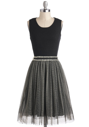 Pretty in Prague Dress - Long, Black, Grey, Party, Cocktail, Ballerina / Tutu, Sleeveless, Twofer, Vintage Inspired