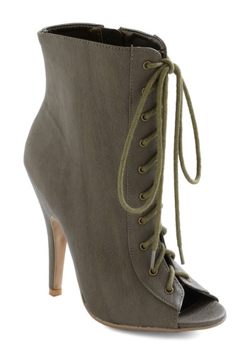 Sneak Peep Toe Bootie - Green, Solid, Lace Up, Peep Toe, High, Party, Girls Night Out, Urban, Steampunk