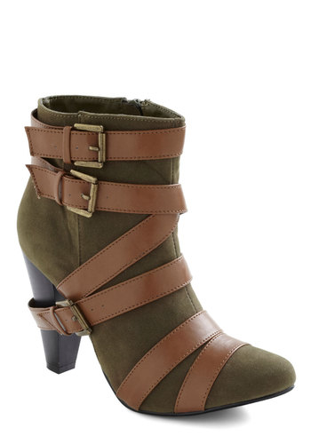 Mountain Path Boot - Green, Brown, Buckles, Mid, Steampunk, Casual