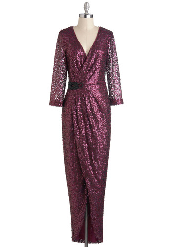 Cerise Her Own Dress - Purple, Sequins, 3/4 Sleeve, Winter, Holiday Party, V Neck, Formal, Sheath / Shift, Cocktail, Vintage Inspired, Luxe, Long