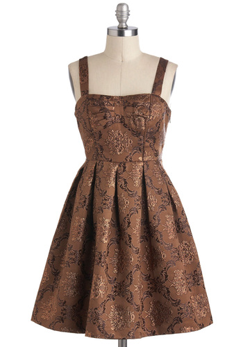 Precious Petals Dress - Mid-length, Brown, Bronze, Print, Bows, Cutout, Pleats, Cocktail, Sleeveless, Party, Vintage Inspired, Fit & Flare