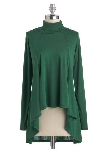 Ripple Me This Top - Short, Green, Solid, Casual, Long Sleeve, Minimal