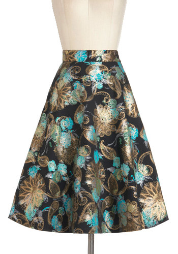 Intricately Classy Skirt - Green, Blue, White, Floral, A-line, Black, Long, Cotton, Party, Casual