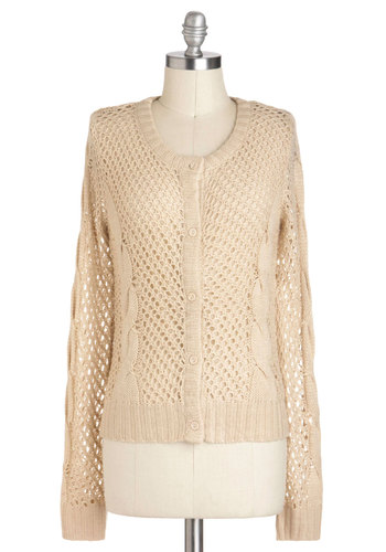 Long and Shortbread Cardigan - Sheer, Mid-length, Cream, Buttons, Knitted, Long Sleeve, Casual