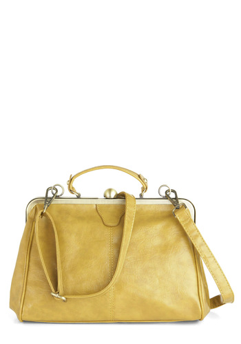 Believe It or Not Bag in Topaz - Yellow, Solid, Vintage Inspired, Work, Casual, 60s