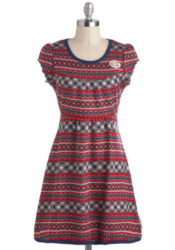 European Railway Dress by Blutsgeschwister - Blue, Print, Casual, Mid-length, Cap Sleeves, International Designer, Red, White, Sweater Dress