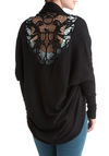 Whispering Breezes Cardigan in Ink - Black, Solid, Crochet, Long Sleeve, Sheer, Variation