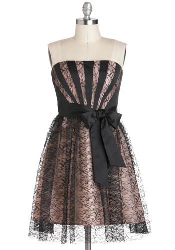 All Deco Out Dress by Max and Cleo - Black, Pink, Lace, Formal, A-line, Strapless, Mid-length, Belted, Prom