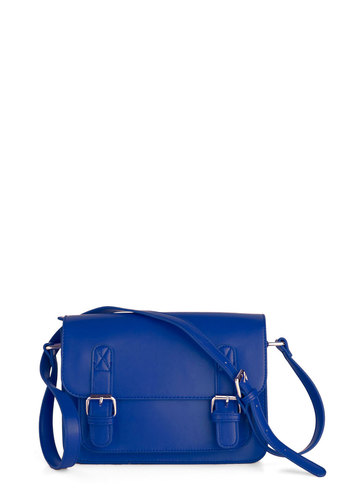 In So Mini Words Bag in Blue - Blue, Solid, Buckles, Casual