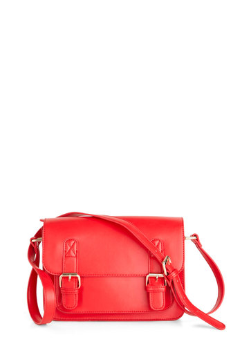 In So Mini Words Bag in Red - Red, Solid, Buckles, Casual, Variation