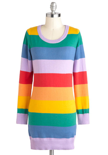 Rainbow Affection Sweater - Multi, Stripes, Casual, Long Sleeve, Cotton, Long, Tis the Season Sale, Travel
