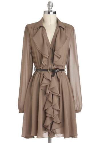 Mocha Truffle Dress - Tan, Solid, Ruffles, Belted, A-line, Long Sleeve, Chiffon, Sheer, Short, Work, Collared, Vintage Inspired