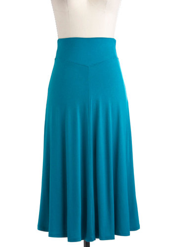 Un-teal Tomorrow Skirt - Long, Blue, Solid, A-line, Casual, Boho, Jersey, Minimal, Maxi
