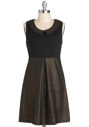 Pros and Bronze Dress - Peter Pan Collar, Party, Sleeveless, Collared, Short, Black, Bronze, A-line, Glitter, Holiday Party
