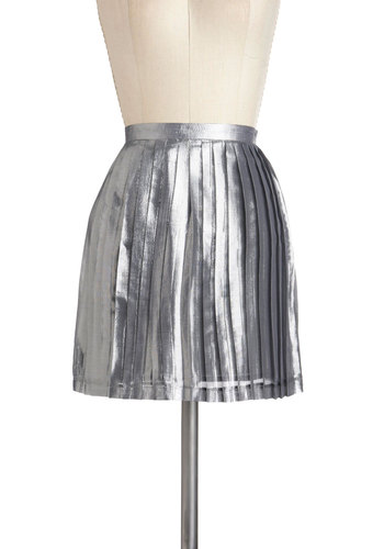 Have a Disco Ball Skirt - Silver, Pleats, Party, A-line, Short, Holiday Party, Urban