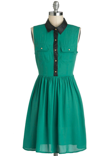 Emerald and the Beautiful Dress - Faux Leather, Mid-length, Green, Black, Buttons, Pockets, Casual, Menswear Inspired, Shirt Dress, Sleeveless, Collared, Urban