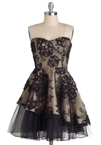 Opus and Dreams Dress - Tan / Cream, Black, Formal, Fit & Flare, Strapless, Sheer, Mid-length, Sweetheart, Tis the Season Sale, Floral, Flower, Holiday Party