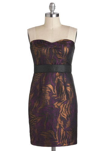 Rich in Radiance Dress - Purple, Gold, Print, Strapless, Mid-length, Cocktail, Shift, Sweetheart, Holiday Party, Tis the Season Sale