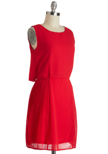 Right Said Red Dress - Mid-length, Red, Solid, Party, Minimal, Sleeveless, Pleats