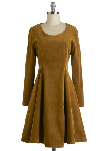 Rustic Chic Dress in Cord - Cotton, Mid-length, Tan, Solid, Casual, A-line, Long Sleeve, Party, Vintage Inspired, Luxe, Winter